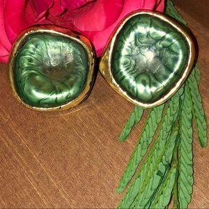 🍃Vintage Green Wooden Chunky Earrings🍃